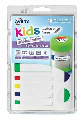 Avery Labels Writable Self Laminating Kids Id Labels Neon 48 Per Pack - 41433