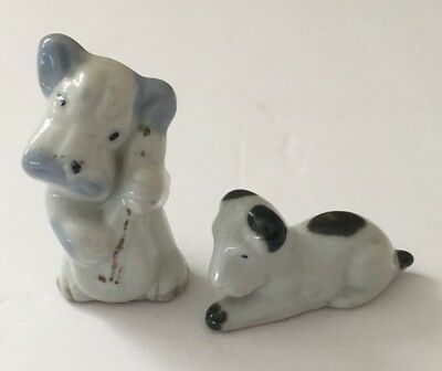 Vintage Japan Dog Figurines Playing Cello Miniature Music
