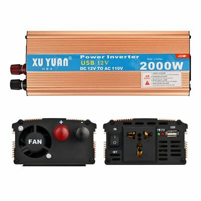 2000W DC 12V AC 110V Car Power Inverter Charger Converter Adapter + USB Port