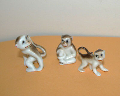 SET OF 3 PORCELAIN MINI MONKEY FIGURINES free shipping VERY CUTE bone china