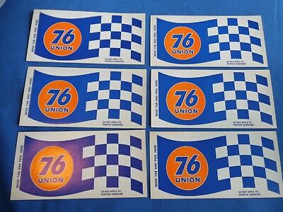 Vintage  Union 76 Checkers Flag Stickers Lot Of 6