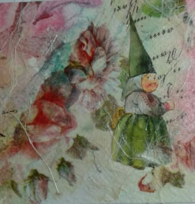 """ORIGINAL WATERCOLOR & COLLAGE 4""""x4"""", Gnome with Flowers, SIGNED by artist"""