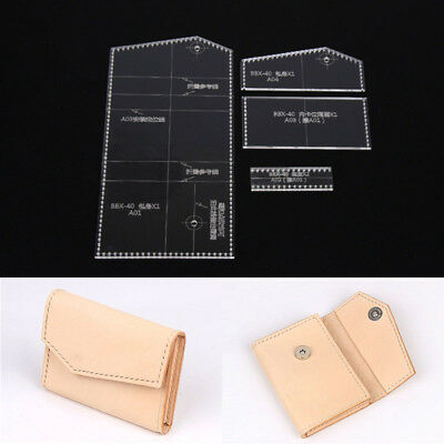 Leather Craft Clear Acrylic card holder coin purse Pattern Template DIY BBX-40