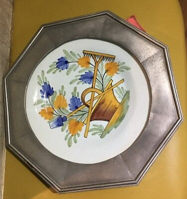 LES ETAIN DE L'ABBAYE FRANCE Pewter framed DISH PLATE Floral FRENCH COUNTRY