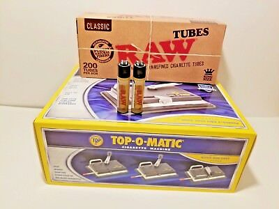 New Top-O-Matic Cigarette Rolling Machine+ FREE RAW Tubes+ Lighters