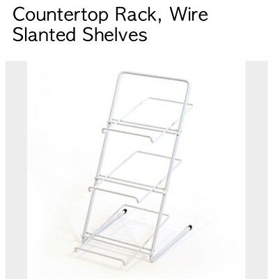 White Countertop Rack Wire Slanted Shelves Candy Display
