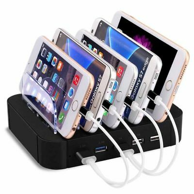 5 Port USB Charging Station Dock Stand Desktop Multi Charger Hub f. Phone Tablet
