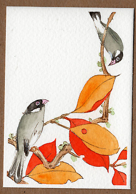 ACEO original Miniature Watercolor Painting Oriental Art Series #13 Bird n Tree
