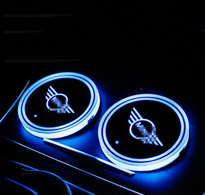 2PCS LED Car Cup Holder Bottle Pad Mat Auto Interior Atmosphere Lights For MINI