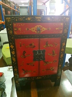 Chinese Cabinet Hand Painted Butterfly In black and red antique retro oriental