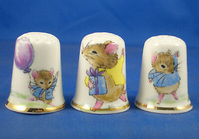 Fine Porcelain China Thimbles - Set Of Three Party Mice