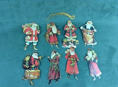 Vintage set of 8 Die cut Santa Christmas Gift Tags Ornaments 1985