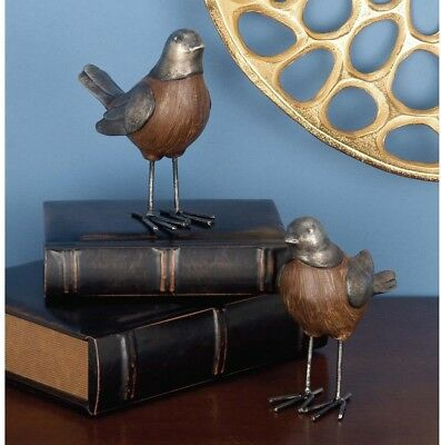 Rustic Bird Sculptures in Gray and Brown (Set of 2) Decoration Antique Looking