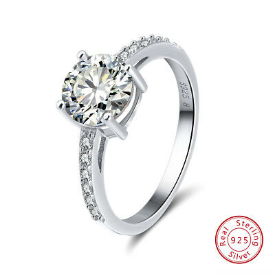 Women Rings CZ Crystal 925 Sterling Silver Wedding Band Engagement Jewelry Gift