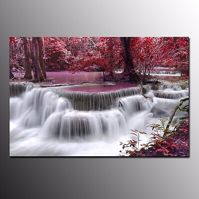 Modern Canvas Art Prints for Living Room Red Waterfall Wall Art Canvas Painting