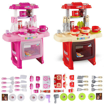 Electronic Children Kids Kitchen Cooking Girl Boy Toy Cooking Play Set Red Pink