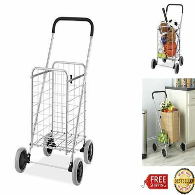 Rolling Utility Folding Shopping Cart Collapsible Laundry Travel Grocery Use