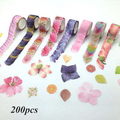 200pcs Flower Petals Tape Decorative Masking Tape Scrapbooking Stickers
