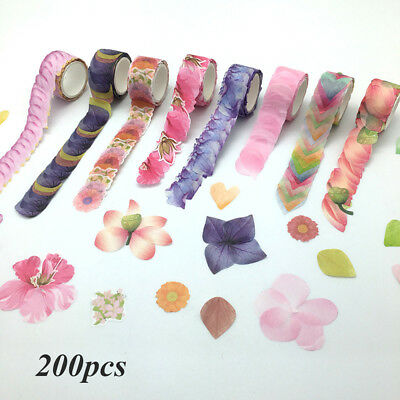 200pcs Flower Petals Washi Tape Decorative Masking Tape Scrapbooking Stickers