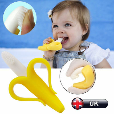Silicon Baby Training Toothbrush Bendable Banana Teether Infant Toddler Massage