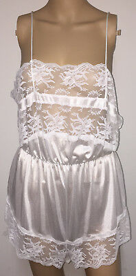Vintage Romantic Moods White Ultra Sheer Nylon Lacy Teddy Lingerie Sissy XL