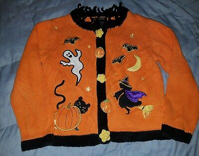 Halloween Sweater Girls Cardigan Authentic Kids Size 5/6 Ghost Witche Pumpkins