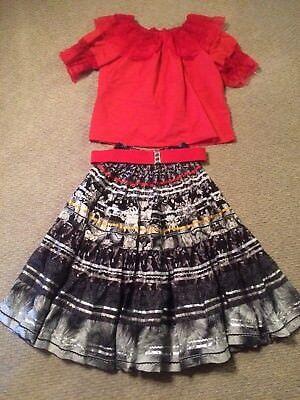 Suare Up Mandiki Square Dance Outfit XL Red Black Skirt Shirt Belt costume