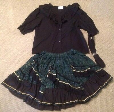 Mandiki Square Dance Outfit XL XXL Black Dark Green & Gold Snap Front  costume