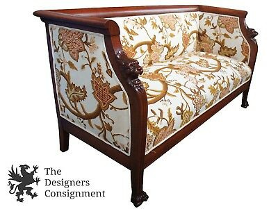 Antique French Empire Style Lion Carved Mahogany Settee Sofa Bench Krewel Seat