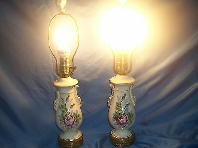 Vintage Pair of Trophy Table Lamps Hand Painted Rose