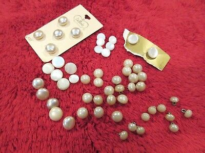 Lot (60) Mother of Pearl MOP & Faux Pearl  Buttons Metal Shank