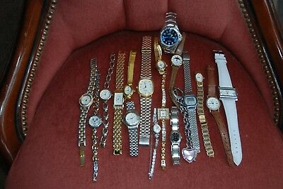 Job Lot of 18 Watches male and female some bling