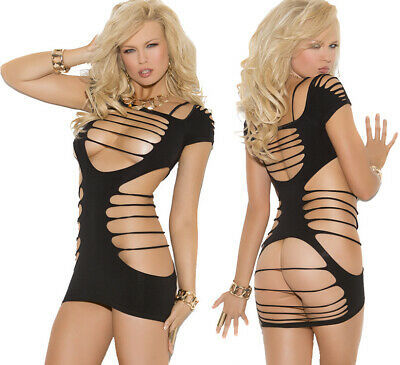 Elegant Moments Sexy Little Black Opaque Strappy Mini Dress One Size