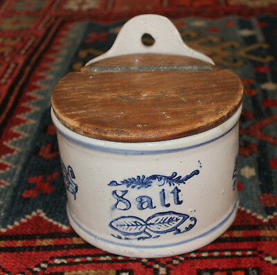 Antique Salt Glaze Stoneware Salt Crock Wall Mount-Wood Lid