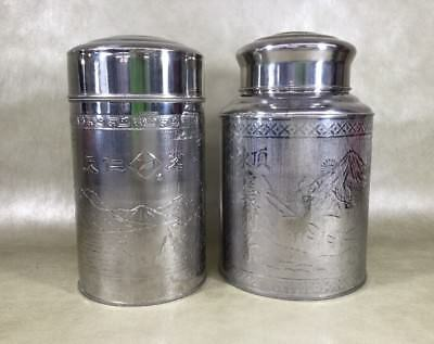 Pair Of Japanese ? Chinese ? Engraved/etching Silver Tin Jars/tea Caddy ?