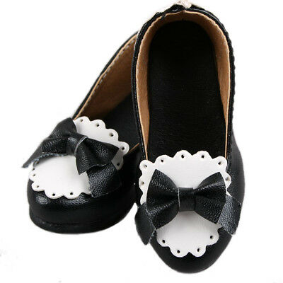 1/4Black & White Mid Heeled Bowknot Synthetic Leather Shoes For MSD BJD Dollfie