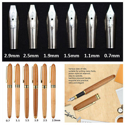 Bamboo Calligraphy Art Fountain Pen Chisel-pointed Nib 0.7mm-2.9mm Writing Tool