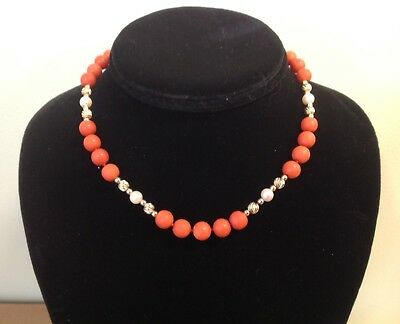 Vintage Gold Filled  natural Red Coral necklace, Cultured Pearls, Gold Beads NR!