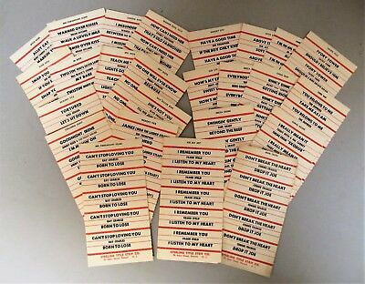 25 JUKEBOX TITLE STRIP LABEL CARDS FROM THE 1960's