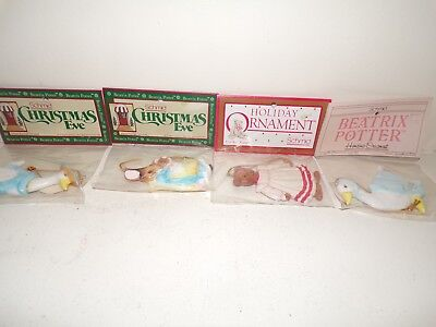Vintage 1983,84,85 Schmid Beatrix Potter Set of 4 Hanging Ornaments NOS