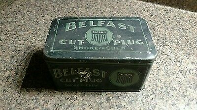 Tin Metal Box Tobacco Container Belfast Cut And Chew Cigars Cut Plug Vintage