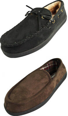 Perry Ellis Mens Microsuede Lined Moccasin Slipper Indoor Outdoor Sole