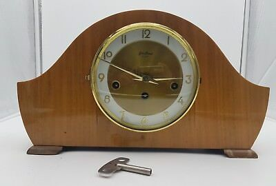 Vintage BENTIMA MANTLE CLOCK 8 Day Action With Key -