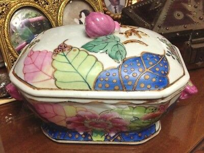 BIG SALE - 50% OFF Chinese Tobacco Leaf Small Porcelain Tureen from the 1950s