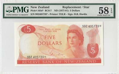 1977-81 New Zealand Qeii $5 **star Note** (( Pmg 58 Epq ))