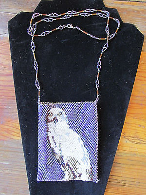 Beaded necklace/ bag / purse. Cindy Makes Cold Weather. Owl motif.