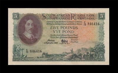 2.9.1950 South Africa 5 Pounds **rare** (( Ef ))