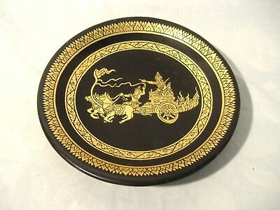 Burmese Lacquer Black Gold Plate Gilt Flaming Chariot