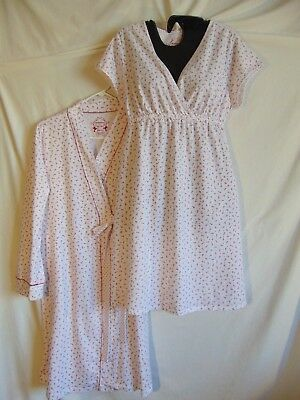 Motherhood Maternity Short Nursing Gown & Robe size L White,Red Flowers Cotton