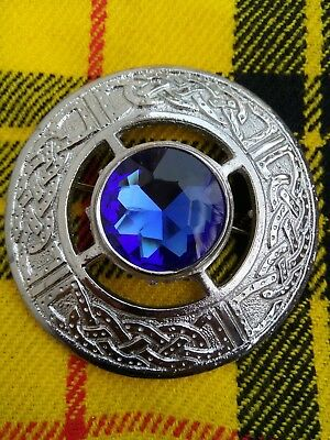 """Scottish Fly Plaid Brooch With 1 Brown Stone In Brass Antique Finish 3/"""" Brooch"""